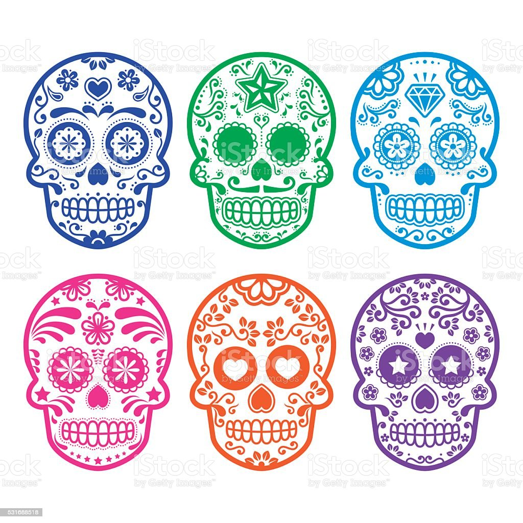 Mexican sugar skull icons set vector art illustration