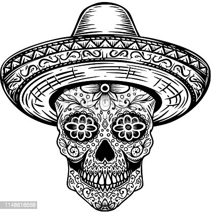 Mexican sugar skull in sombrero. Day of the dead theme. Design element for poster, t shirt, emblem, sign. Vector illustration