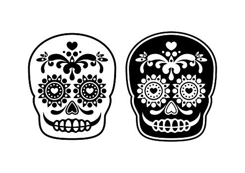 Mexican sugar skull outline icon vector