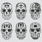 Mexican sugar skull vector black silhouette set. Design elements for holiday Day of the Dead, Halloween, party and tattoo isolated on transparent background.