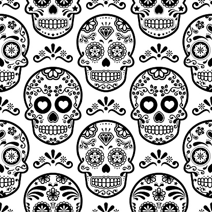 Mexican sugar skull vector seamless pattern, Halloween candy skulls background, Day of the Dead celebration, Calavera design