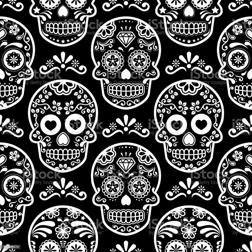 Mexican Sugar Skull Vector Seamless Pattern On Black Halloween White
