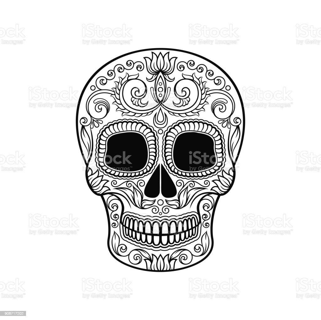 Ilustración De Calavera De Azúcar Mexicana De Flores Dia De Muertos