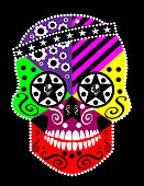 istock Mexican sugar skull with ornament details, vector. Halloween background. 1273545084