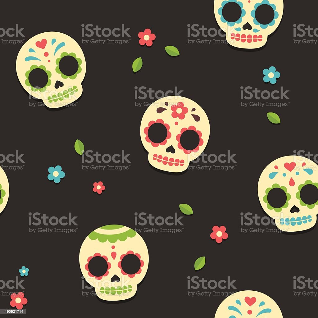 Mexican sugar skulls pattern vector art illustration