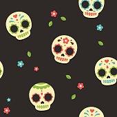 Mexican sugar skulls pattern