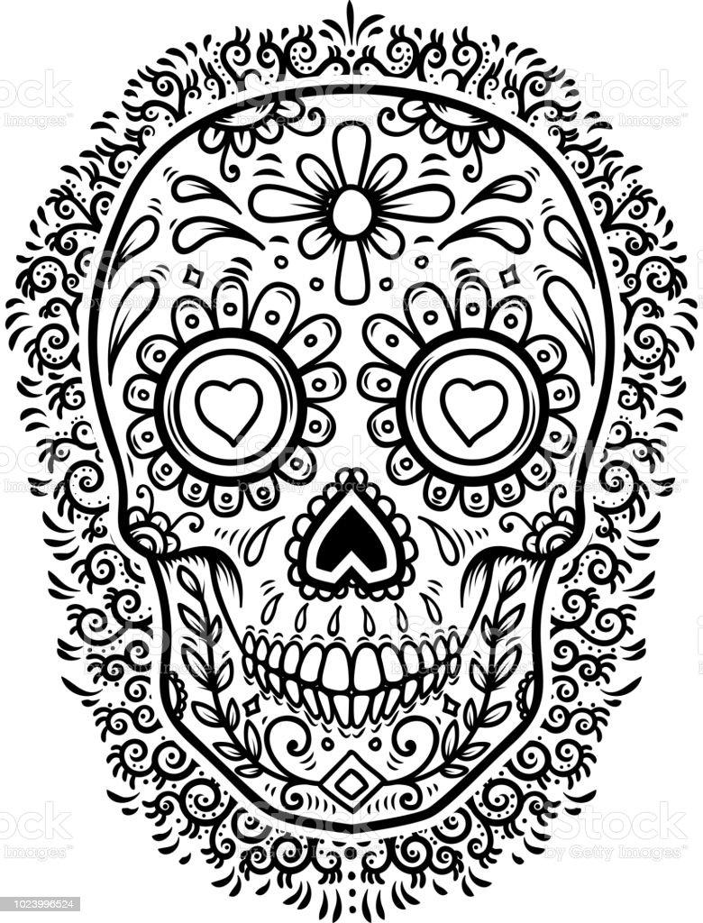 Ilustración De Calaveras De Azúcar Mexicanas Con Fondo De Flores Día