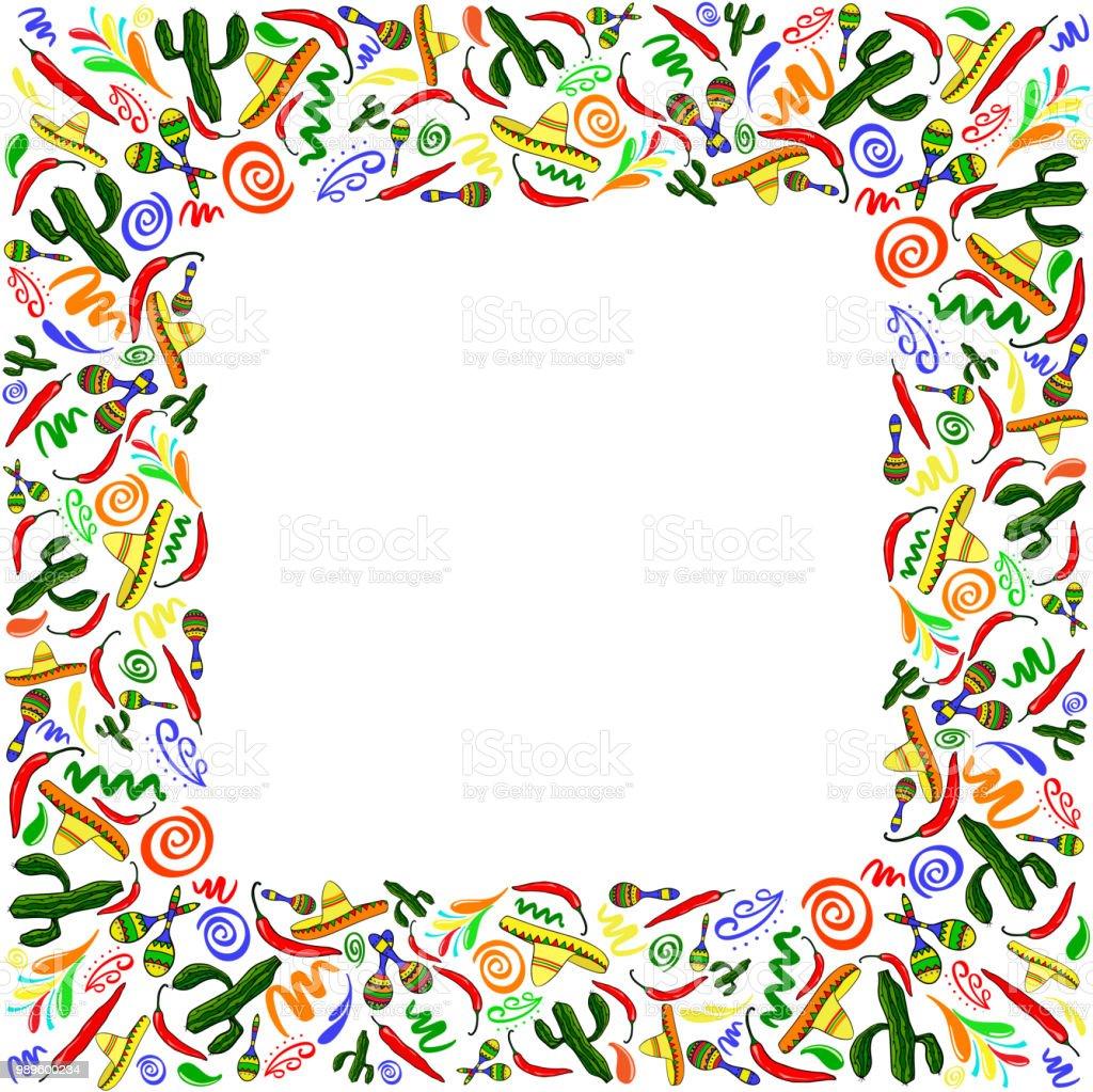 mexican symbols vector greeting card wedding or party invitation