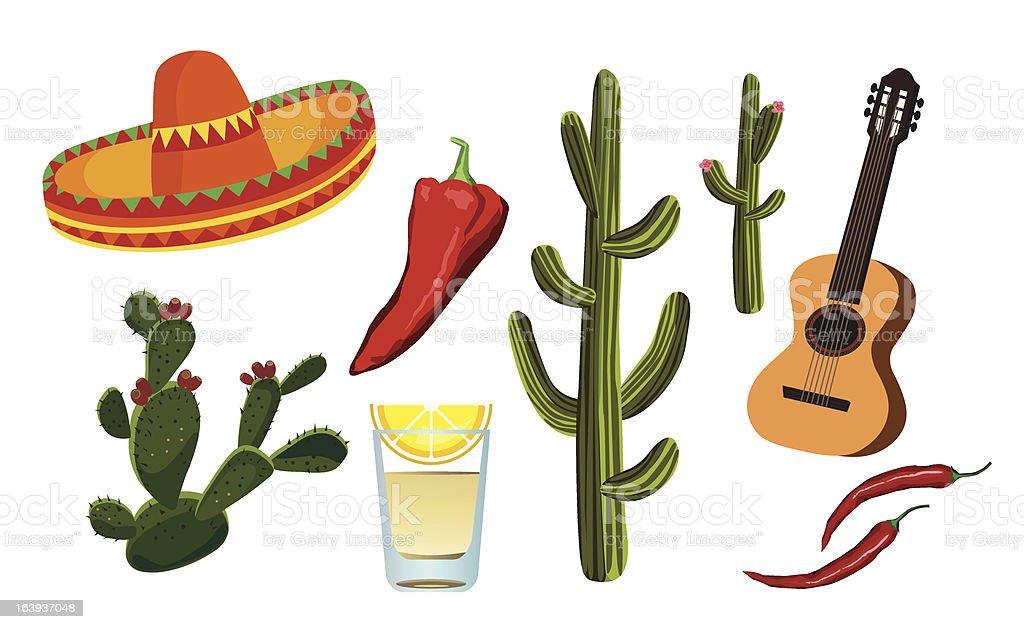 Mexican Symbols vector art illustration