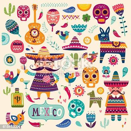 istock Mexican symbols 615415006