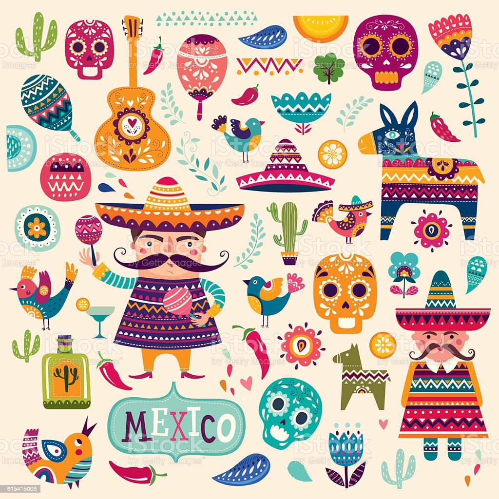 Mexican symbols vector art illustration