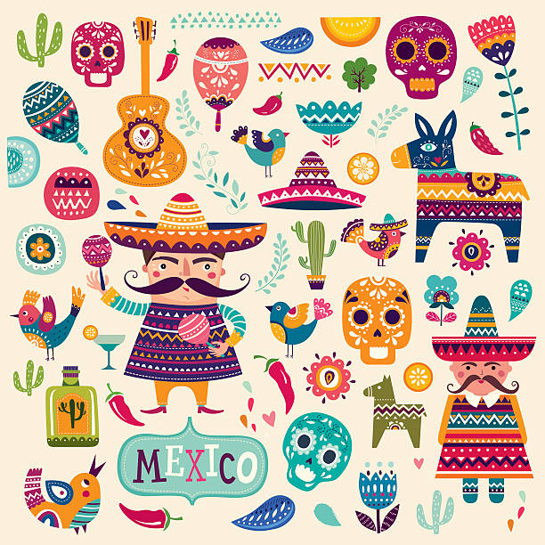 Mexikanische Symbole – Vektorgrafik
