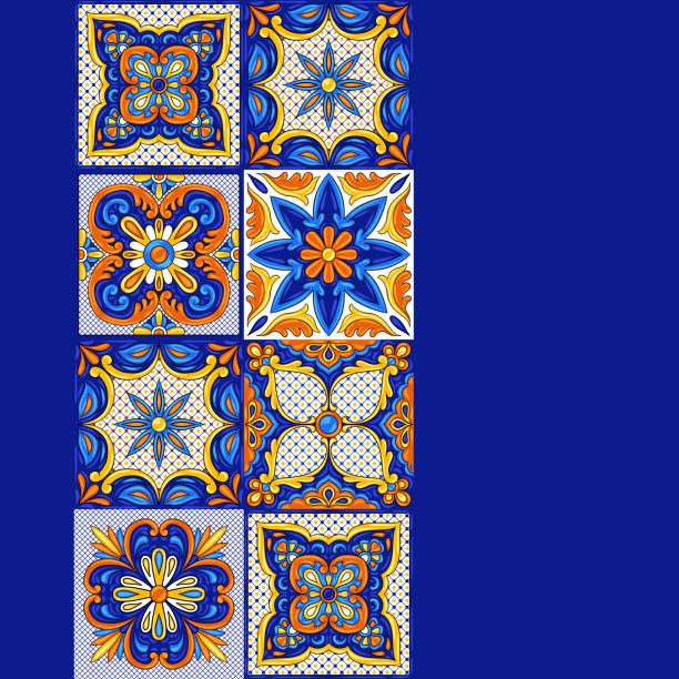 ilustrações de stock, clip art, desenhos animados e ícones de mexican talavera ceramic tile pattern. ethnic folk ornament. - mosaicos flores