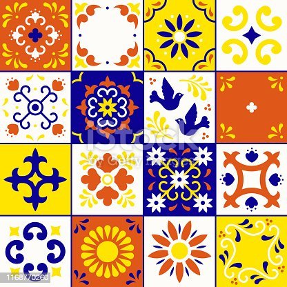 Mexican talavera pattern. Ceramic tiles with flower, leaves and bird ornaments in traditional style from Puebla. Mexico floral mosaic in blue, terracotta, yellow and white. Folk art design.