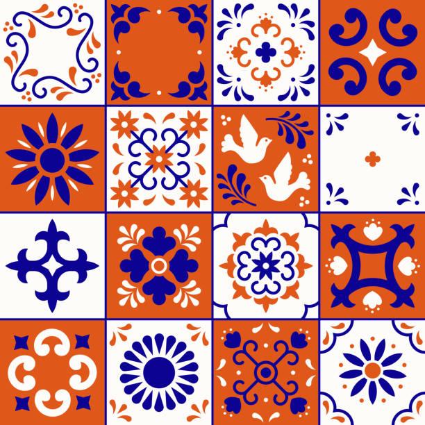 meksykański wzór talavera. płytki ceramiczne z kwiatami, liśćmi i ornamentami ptaków w tradycyjnym stylu z puebla. meksyk kwiatowy mozaika w kolorze granatowym, terakoty i bieli. projektowanie sztuki ludowej. - kultura portugalska stock illustrations