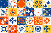 Mexican talavera pattern. Ceramic tiles with flower, leaves and bird ornaments in traditional majolica style from Puebla. Mexico floral mosaic in classic blue and white. Folk art design.