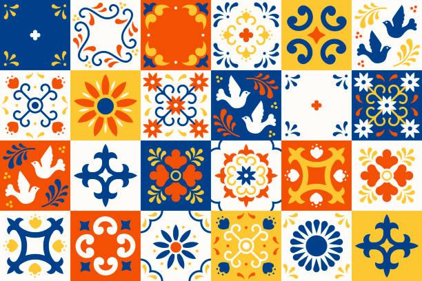 ilustrações, clipart, desenhos animados e ícones de padrão mexicano de talavera. azulejos cerâmicos com flores, folhas e enfeites de aves no estilo majolica tradicional de puebla. mosaico floral do méxico em azul e branco clássico. design de arte folclórica. - cerâmica artesanato