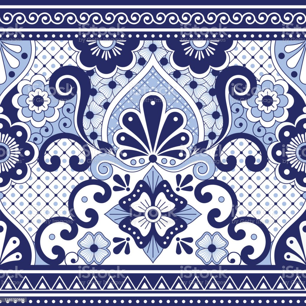 Mexican Talavera Poblana Vector Seamless Pattern Repetitive Background Inspired By Traditional Pottery And Ceramics Design From Mexico In Navy Blue Stock Illustration Download Image Now Istock