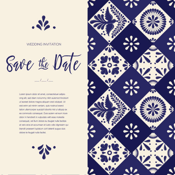 stockillustraties, clipart, cartoons en iconen met mexicaans talavera tegels slaan de datum kaart - kopie ruimte - save the date