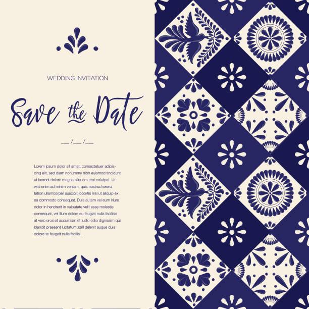 mexikanische talavera tile speichern sie die datum-karte - textfreiraum - save the date stock-grafiken, -clipart, -cartoons und -symbole