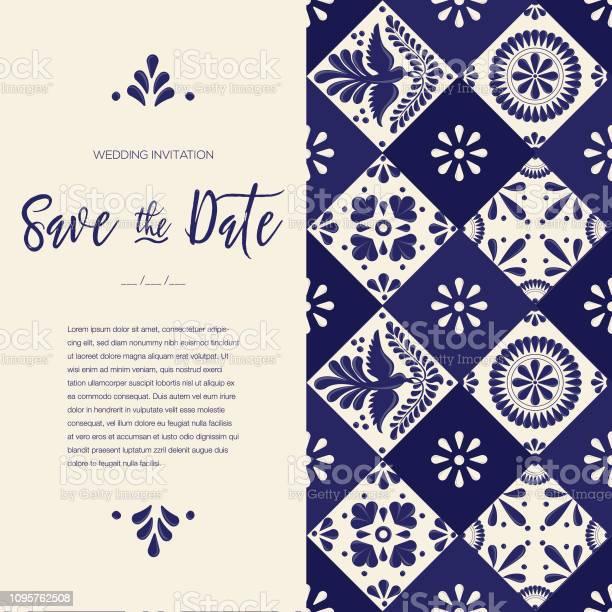Mexikanische Talavera Tile Speichern Sie Die Datumkarte Textfreiraum Stock Vektor Art und mehr Bilder von Arbeiten