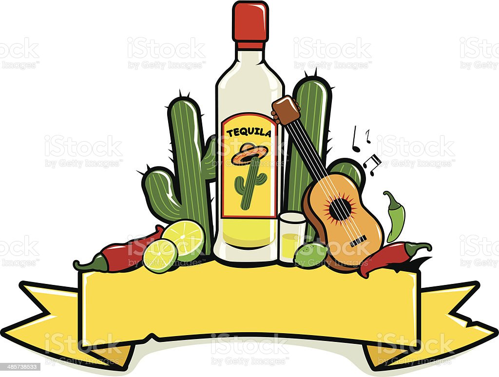Mexican tequila banner vector art illustration