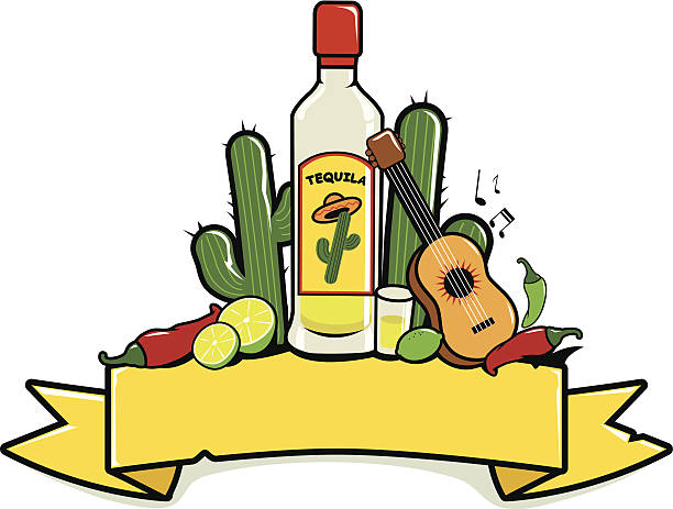 Mexican tequila banner Horizontal vector banner decorated with a tequila bottle and other Mexican themed illustrations mexican restaurant stock illustrations
