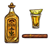 Mexican tequila lime drink and cigar sketch