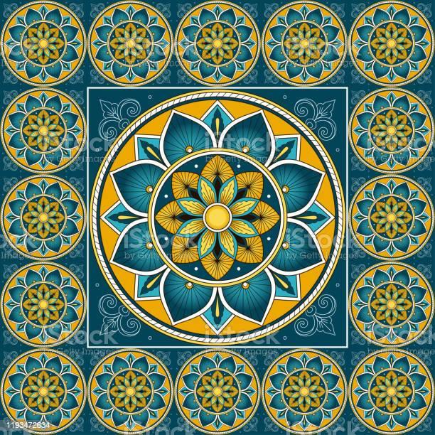 Talavera mosaic frame with tattoo flash print.