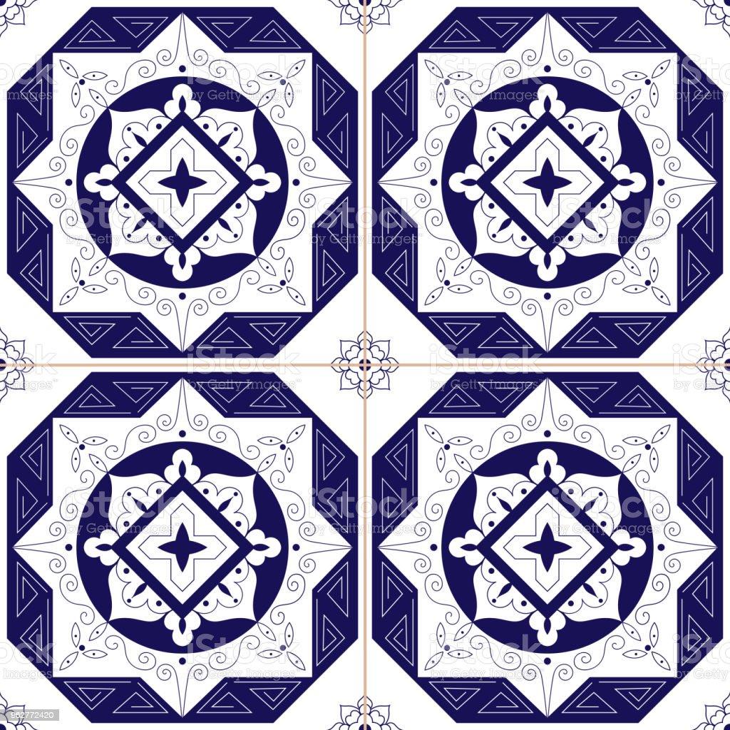 Telha mexicano padrão vector sem emenda. Projeto de ornamento azul branco mosaico tradicional. Porcelana de Delft Holanda, espanhol, azulejos portugueses, majólica italiana, grega. - Vetor de Arabesco - Estilo royalty-free