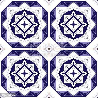 Mexican Tile Pattern Vector Seamless Blue White Traditional Mosaic Ornament Design Delft Holland Porcelain Spanish Portuguese Azulejos Italian Majolica