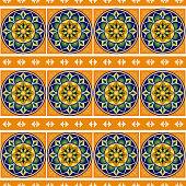 Mexican tile pattern vector seamless with border ornament. Mexico talavera ceramic.