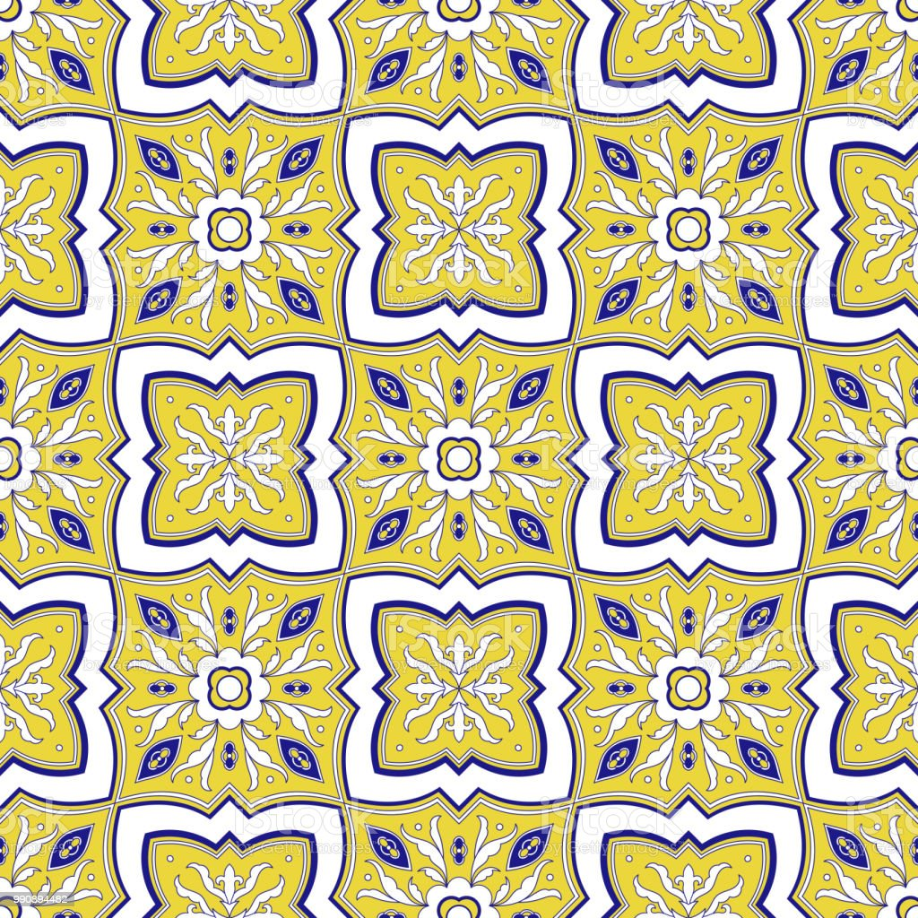 Mexican Tile Pattern Vector Seamless With Floral Ornaments ...