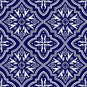 Mexican tile pattern vector seamless with flower ornaments. Mexico puebla talavera ceramic