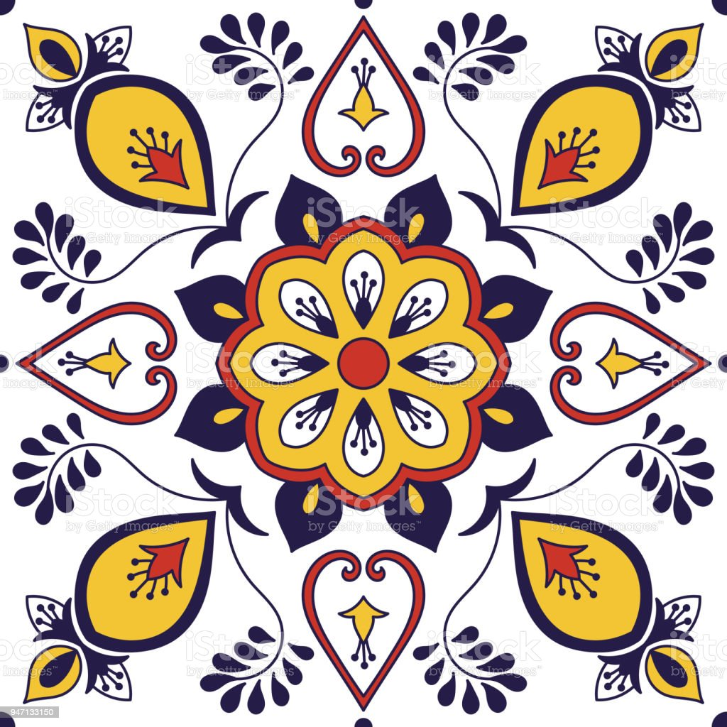 Mexican Tile Pattern Vector With Floral Motifs Portuguese Azulejo - Discount mexican tile