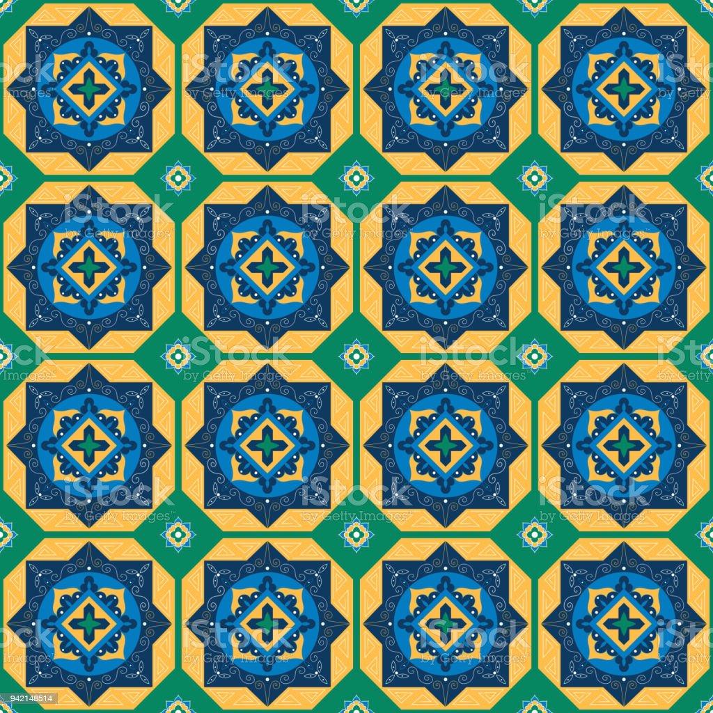 Vector De Patrón De Azulejos Mexicanos De Adornos Verdes Amarillos Y ...