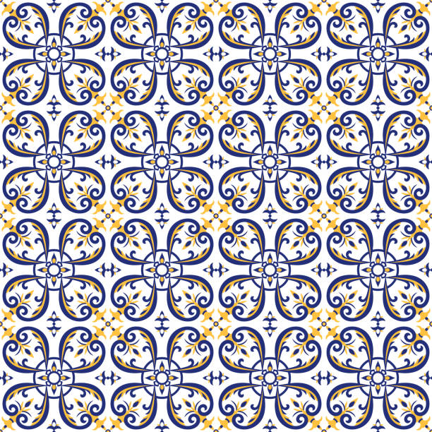 mexican tiles pattern vector with blue, yellow and white ornaments. portuguese azulejos, talavera, italian majolica or spanish motifs. flooring print for ceramic wall or tablecloth fabric design. - sicily stock illustrations