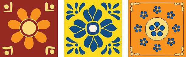ilustrações de stock, clip art, desenhos animados e ícones de conjunto de peças de mexicano - mosaicos flores