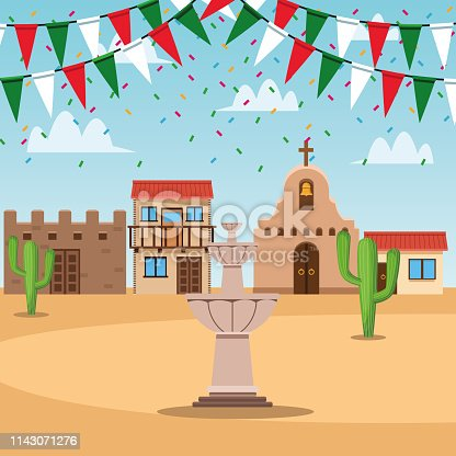 Mexican town festival scenery cartoons vector  illustration graphic design