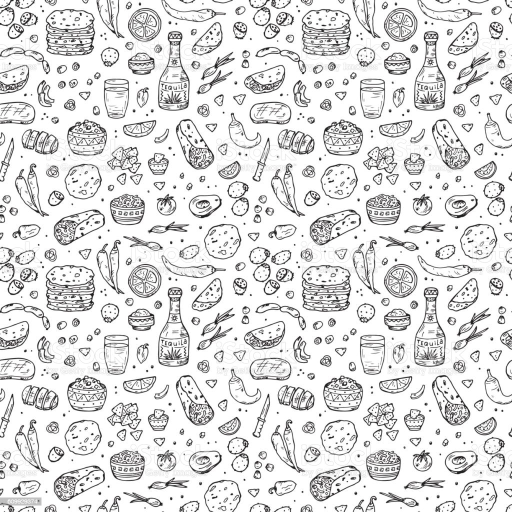 Mexican Tradition Food Seamless Pattern Tequila Tortilla Taco