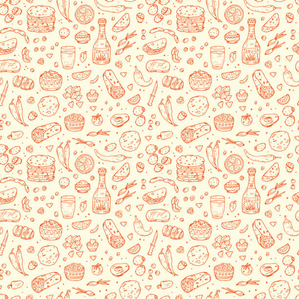 mexican tradition food seamless pattern. tequila, tortilla, taco, burritos, nachos - mexican food stock illustrations, clip art, cartoons, & icons