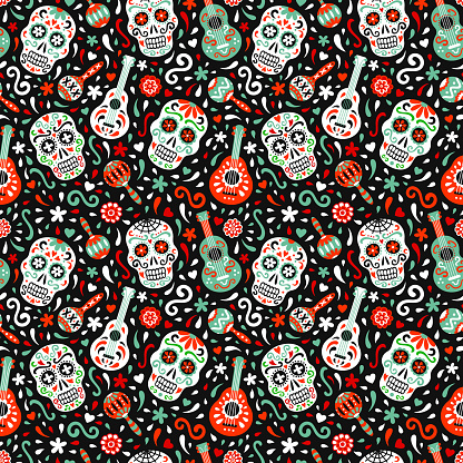 Mexican traditional Day of the Dead vector seamless pattern.