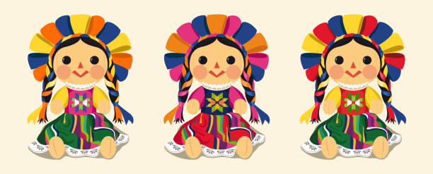 mexican traditional doll, maria set - lalka stock illustrations