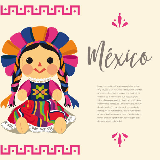 mexican traditional doll, maria - lalka stock illustrations