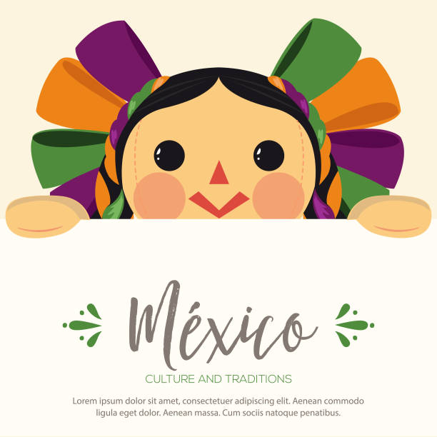 mexican traditional doll, maria with sign - lalka stock illustrations