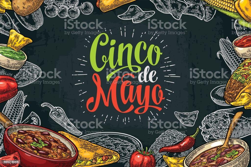 Plantilla de menú de restaurante de comida tradicional mexicana con ingrediente - ilustración de arte vectorial
