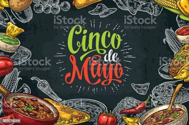 Mexican Traditional Food Restaurant Menu Template With Ingredient Stock Illustration - Download Image Now