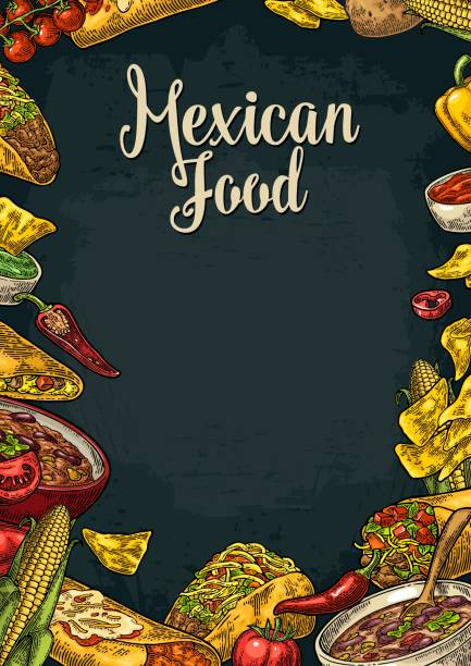 traditionelle mexikanische küche restaurant menüvorlage mit wirkstoff - mexikanisches essen stock-grafiken, -clipart, -cartoons und -symbole