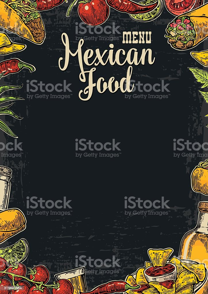 Comida tradicional restaurante mexicano plantilla menú con sabrosos platos. - ilustración de arte vectorial