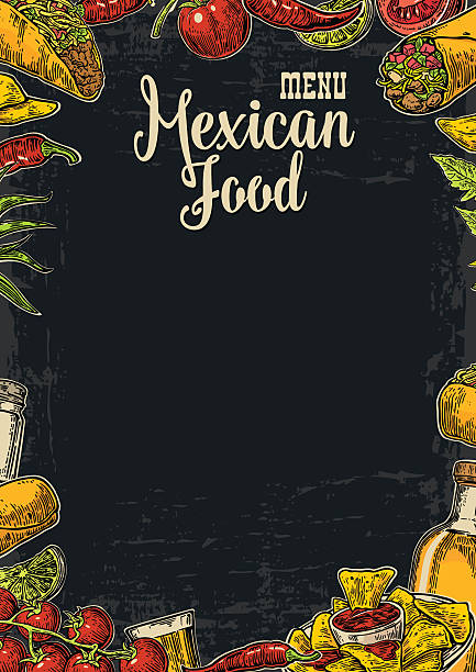 mexican traditional food restaurant menu template with spicy dish. - mexican food stock illustrations, clip art, cartoons, & icons